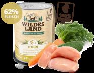 Wildes Land - Menü Huhn mit Karotten, Zucchini, Wildkräutern & Distelöl 400g